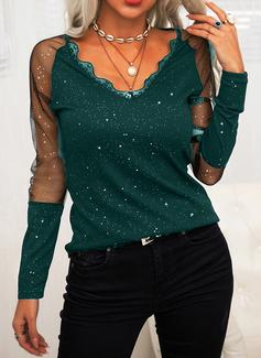 Lace Print V-Neck Long Sleeves Elegant Blouses
