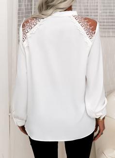 Blonder Solid V-hals Lange ærmer Button-up Elegant Shirt Skjorter