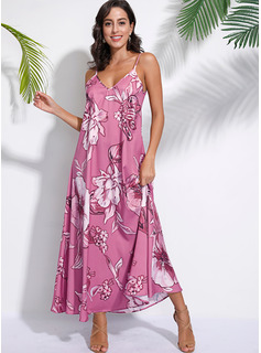 Floral Print Shift Sleeveless Maxi Boho Casual Vacation Type Dresses