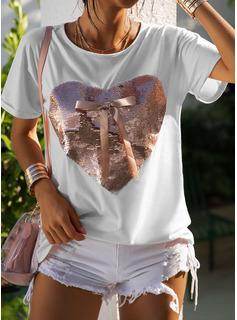 pailletter Rund hals Korte ærmer Casual T-shirt