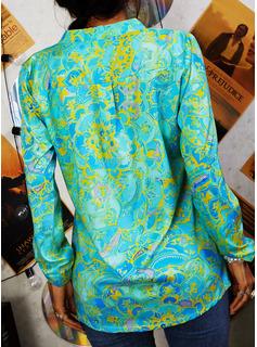 Druck V-Ausschnitt 1/2 Ärmel Mit Knöpfen Lässige Kleidung Hemd Blusen