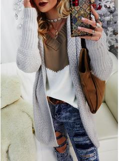 Mit Kapuze Lässige Kleidung Einfarbig Pullover