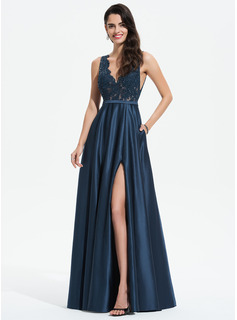 A-Line V-neck Floor-Length Satin Evening Dress With Lace Sequins Split Front Pockets