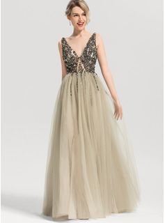 A-Line/Princess V-neck Floor-Length Tulle Prom Dresses With Beading Sequins Split Front