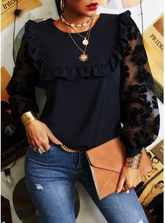 Lace Solid Round Neck Lantern Sleeve Long Sleeves Casual Elegant Blouses