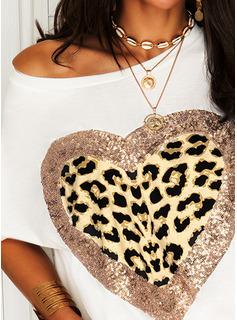 Leopard Print pailletter Hjerte One-Shoulder Korte ærmer Casual T-shirt