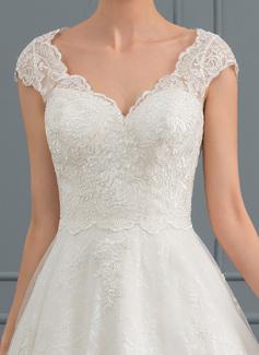 A-Line V-neck Knee-Length Tulle Lace Wedding Dress