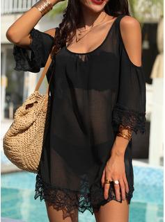Pizzo Solido Abiti dritti 3/4 maniche Spalle esposte Mini Piccolo nero Casuale Vacanza Tunica Vestiti di moda