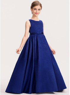 Ball-Gown/Princess Scoop Neck Sweep Train Satin Junior Bridesmaid Dress With Bow(s)