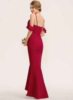Trumpet/Mermaid V-neck Asymmetrical Stretch Crepe Bridesmaid Dress With Cascading Ruffles