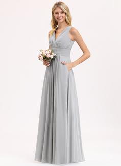 A-Linie V-Ausschnitt Bodenlang Chiffon Brautjungfernkleid mit Rüschen Schleife(n) Taschen