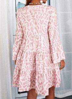 Print Skiftekjoler Flare-ærmer Lange ærmer Midi Casual Mode kjoler