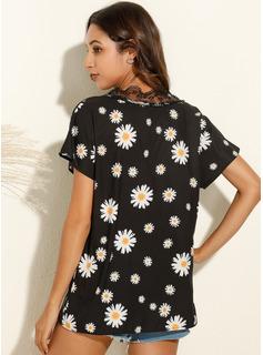 Print Floral Patchwork Lace Short Sleeves Polyester V Neck Blouses