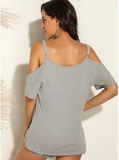 Print Korte ærmer Polyester Kolde skulder T-shirt Bluser