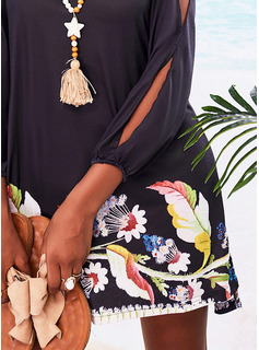 Floral Print Shift Long Sleeves Split Sleeve Mini Casual Vacation Tunic Dresses