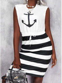 Print Striped Sheath Sleeveless Midi Casual Dresses
