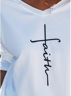 Print V-ringning Långa ärmar Fritids t-shirt
