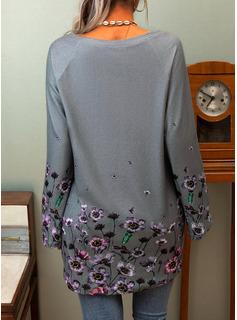 Blumen Druck V-Ausschnitt Lange Ärmel Lässige Kleidung T-shirt