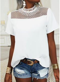 Solid Stand collar Short Sleeves Elegant Blouses