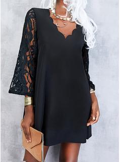 Sólido Vestidos sueltos Manga Larga Mini Pequeños Negros Elegante Vestidos de moda