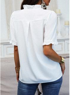 Sólido Cuello en V Mangas 1/2 Casual Blusas