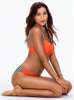 Bikinis Poliester Spandex Trójkąt Push Up Dla kobiet Nie Stroje kąpielowe