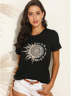 Print Korte ærmer Bomuld rund hals T-shirt Bluser