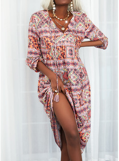Print Skiftekjoler Lange ærmer Maxi Boho Casual Mode kjoler