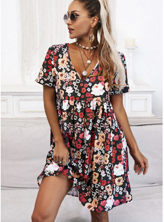 Blomster Print Skiftekjoler Korte ærmer Mini Casual Elegant Tunika Mode kjoler