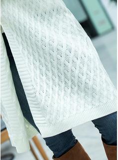 Hooded Fritids Lång Solid Klumpig stickning Tröjor