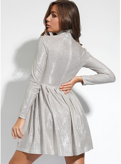 Knee Length High Neck Polyester Crumple/Solid Long Sleeves Fashion Dresses