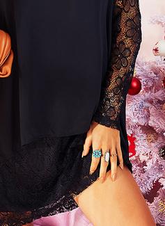 Lace Solid Shift Long Sleeves Mini Little Black Party Elegant Tunic Dresses