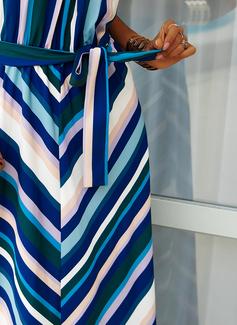 Print Rand A-linjeklänning Ärmlös Maxi Fritids skater Modeklänningar