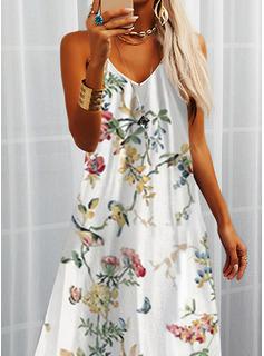 Estampado de animales Floral Impresión Vestido línea A Sin mangas Maxi Casual Vacaciones Patinador Tipo Vestidos de moda