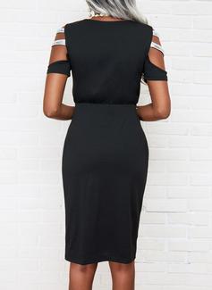 Sólido Cubierta Manga Corta Midi Pequeños Negros Elegante Vestidos de moda