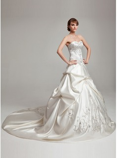Ball-Gown Sweetheart Cathedral Train Satin Wedding Dress With Embroidered Ruffle Beading
