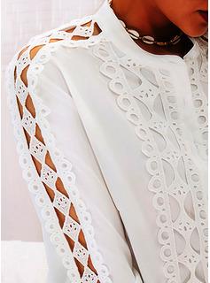 Pizzo Solido Collo alto Maniche lunghe Elegante Camicie