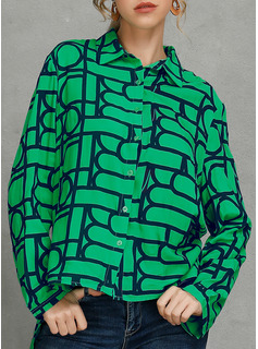 Geometrica Risvolto Maniche lunghe Bottone Shirt and Blouses