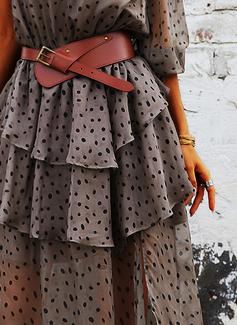 Print Kjole med A-linje 1/2 ærmer Maxi Casual skater Mode kjoler