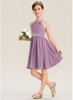 A-Line Scoop Neck Knee-Length Chiffon Junior Bridesmaid Dress With Ruffle Beading