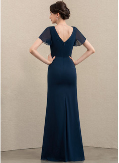 Sheath/Column V-neck Floor-Length Chiffon Mother of the Bride Dress With Beading Split Front Cascading Ruffles