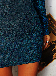 Sequins Solid Bodycon Long Sleeves Mini Party Sexy Dresses