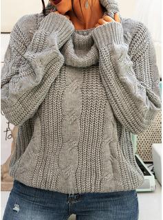 タートルネック カジュアル 固体 ケーブル編み チャンキー・ニット セーター