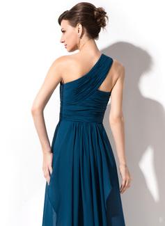 A-Line/Princess One-Shoulder Floor-Length Chiffon Evening Dress With Cascading Ruffles