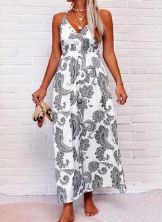 Print Sheath Sleeveless Maxi Boho Casual Vacation Tank Dresses