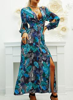 Print Kjole med A-linje Lange ærmer Maxi Party skater Mode kjoler