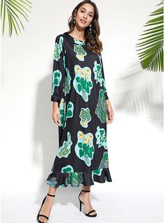 Blommig Print Shiftklänningar Långa ärmar Maxi Fritids Elegant Modeklänningar