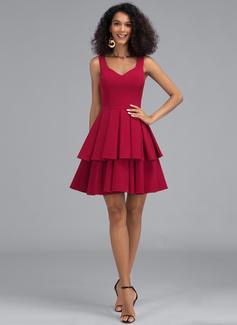 A-Line V-neck Short/Mini Stretch Crepe Homecoming Dress With Cascading Ruffles