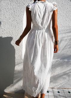 Blonder Solid Kjole med A-linje Helt korte ærmer Maxi Casual Ferie skater Mode kjoler