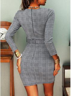 Tartan Aderente Maniche lunghe Mini Casuale Elegante Vestiti di moda